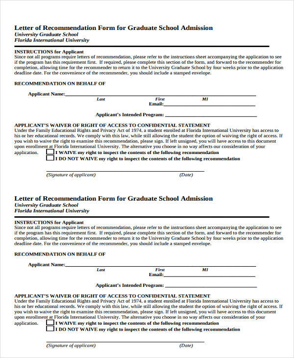 7+ Graduate School Recommendation Letters - Free Sample, Example ...