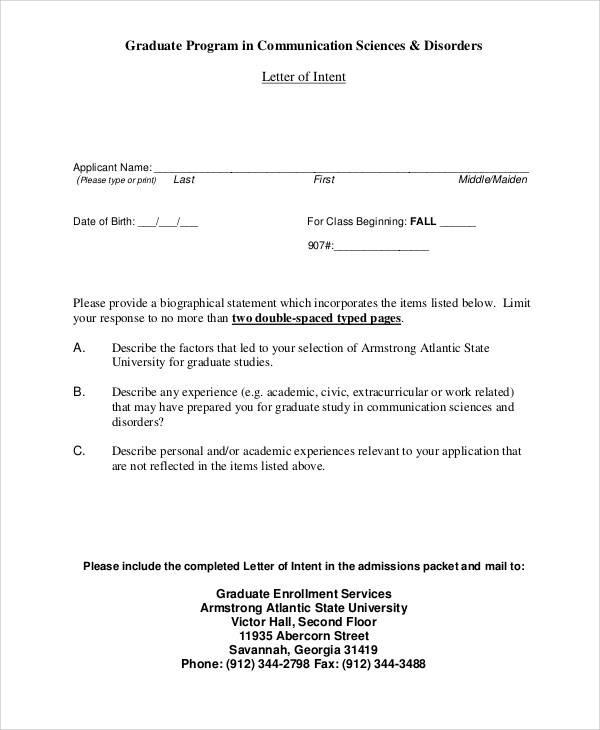 graduate school program letter of intent