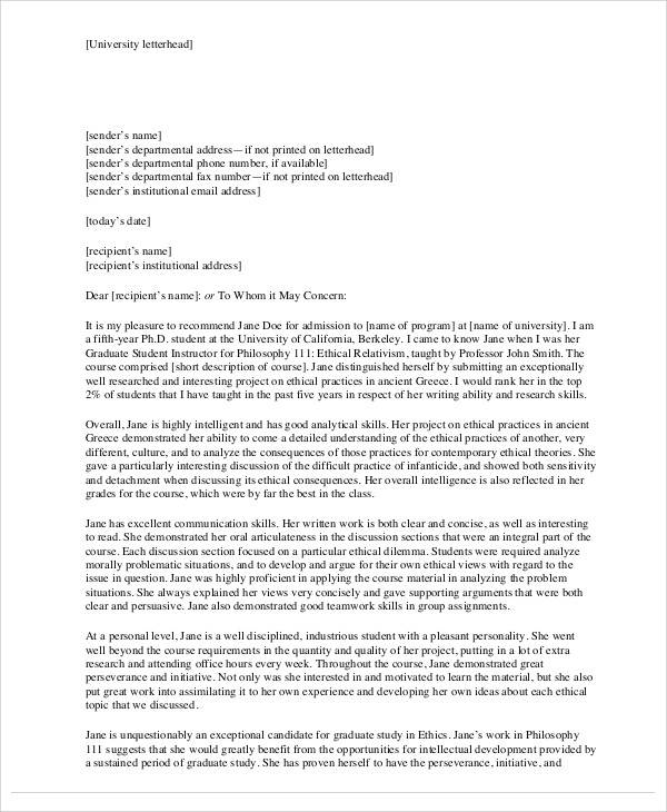 53 sample student letters sample templates graduate student recommendation letter format spiritdancerdesigns Gallery