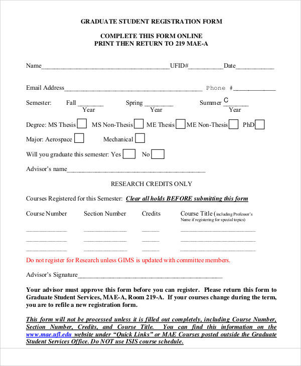 graduate student registration form