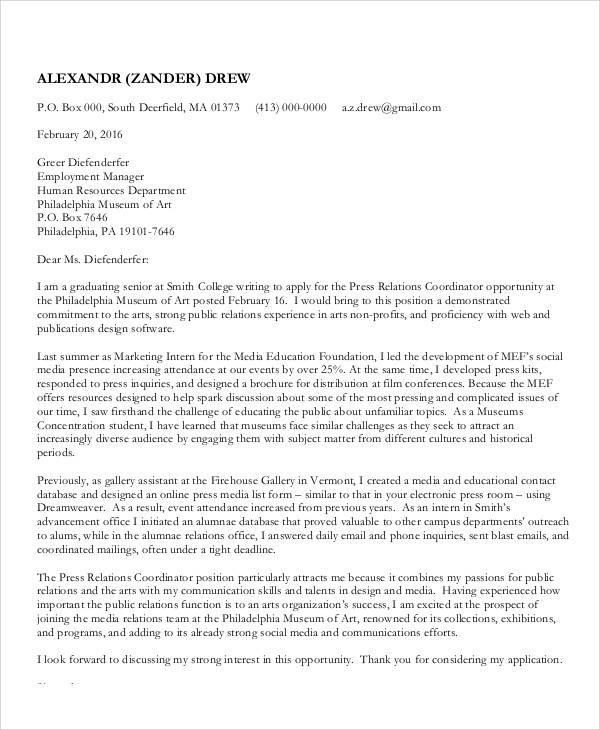 graduation intern thank you letter