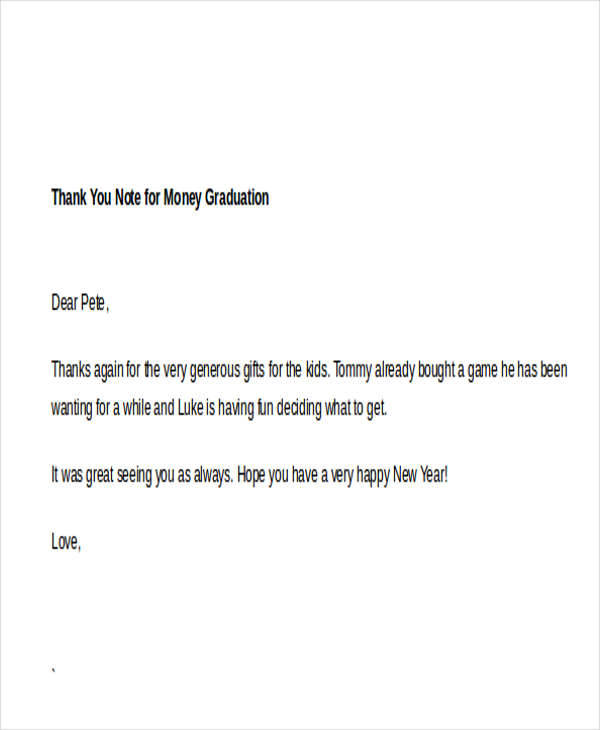 Sample Thank You Note for Money 7 Examples in Word PDF – Graduation Thank You Letter
