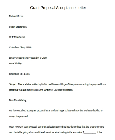grant proposal acceptance letter