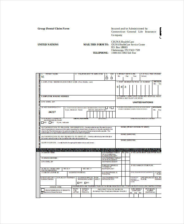 group dental claim form