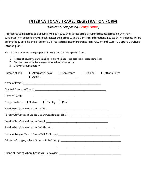 group travel registration form