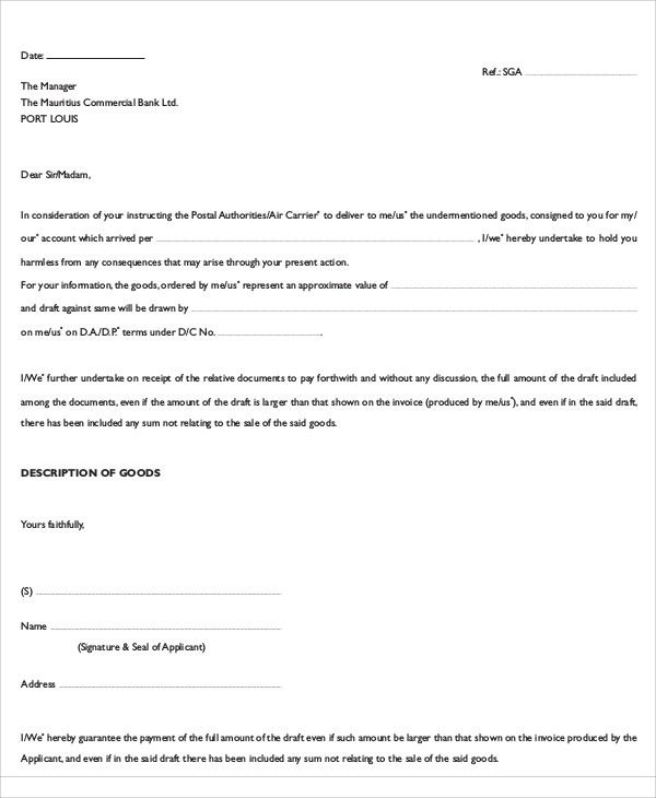 guarantee request letter