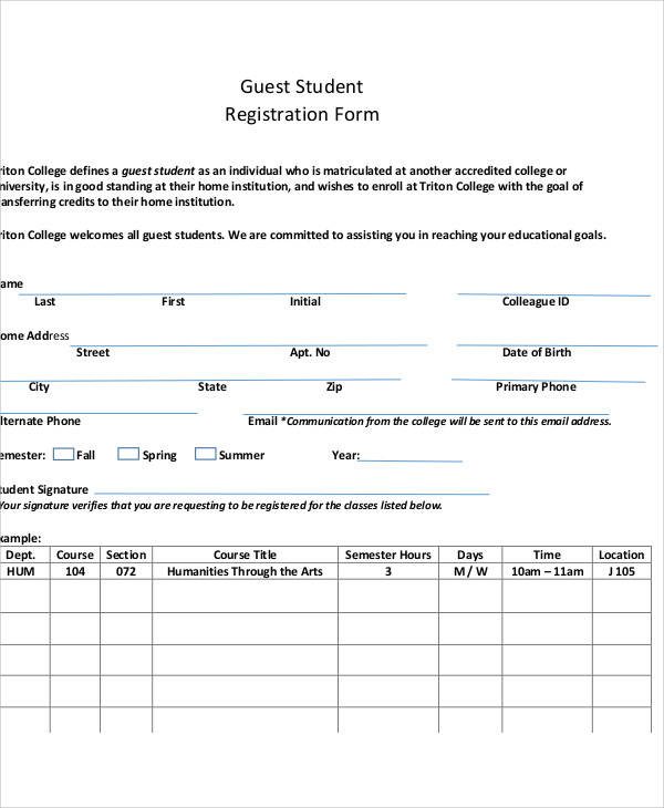 guest student registration form