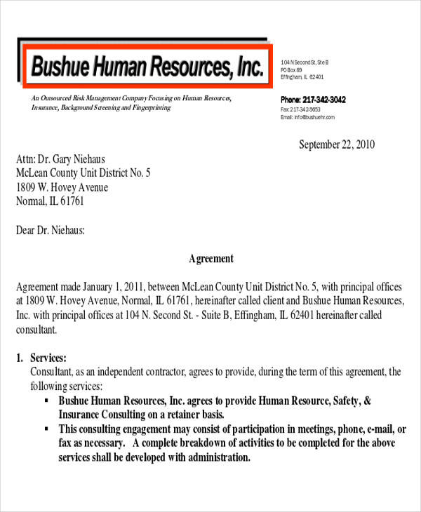 Hr Contract Template Consulting Sample Agreement Forms Free Sample