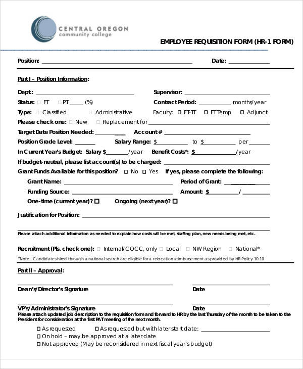 Good HR Employee Requisition Form