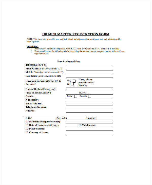 hr registration form example