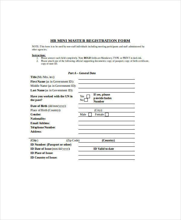 registration form samples
