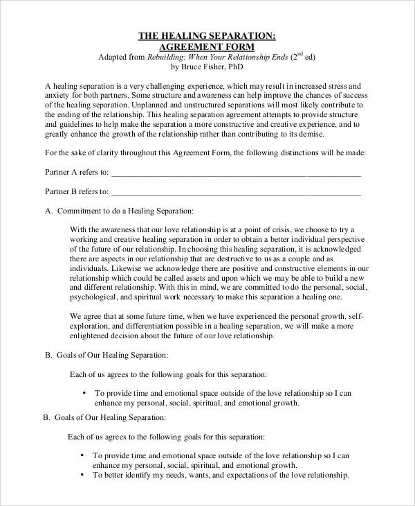 healing separation agreement form