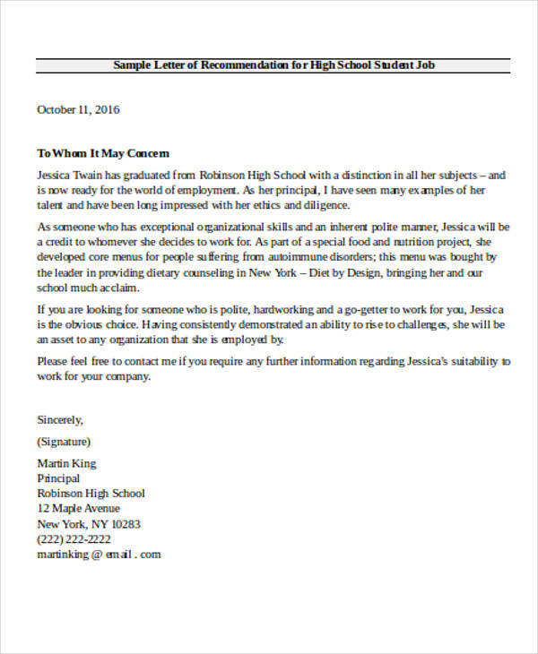 High School Recommendation Letter Sample   Examples In Word Pdf