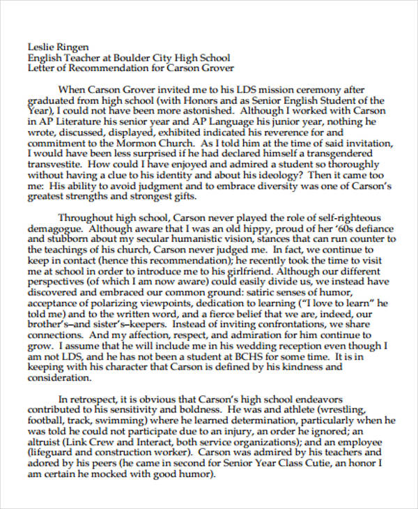 High School Recommendation Letter Sample 9 Examples In Word Pdf