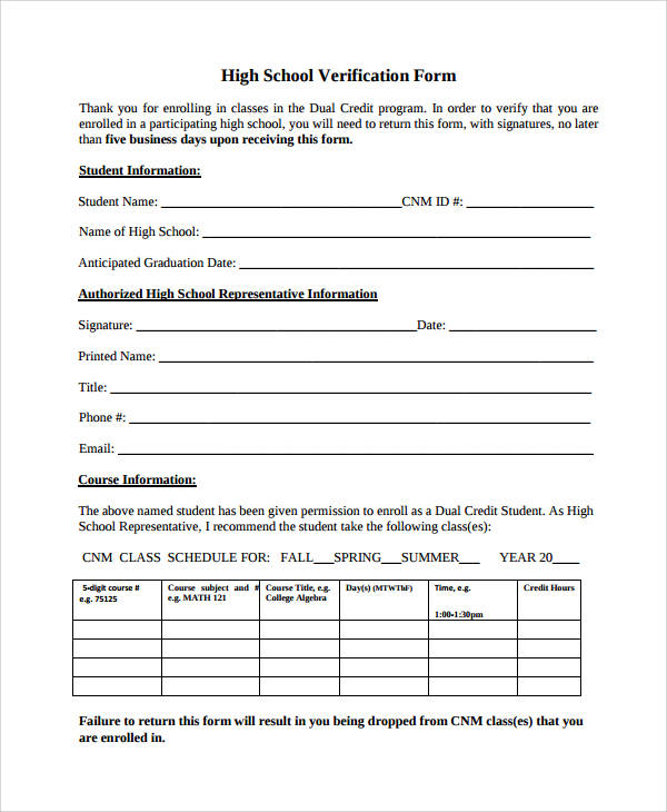 50 sample verification forms sample templates for High school registration form template