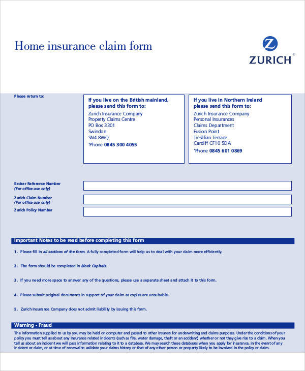 Sample Claim Forms In Pdf
