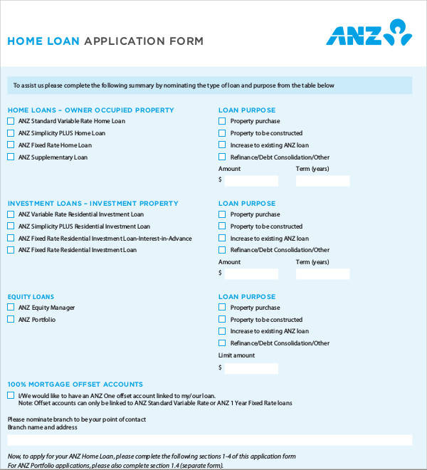 57 application form formats sample templates home loan application form1 thecheapjerseys Gallery