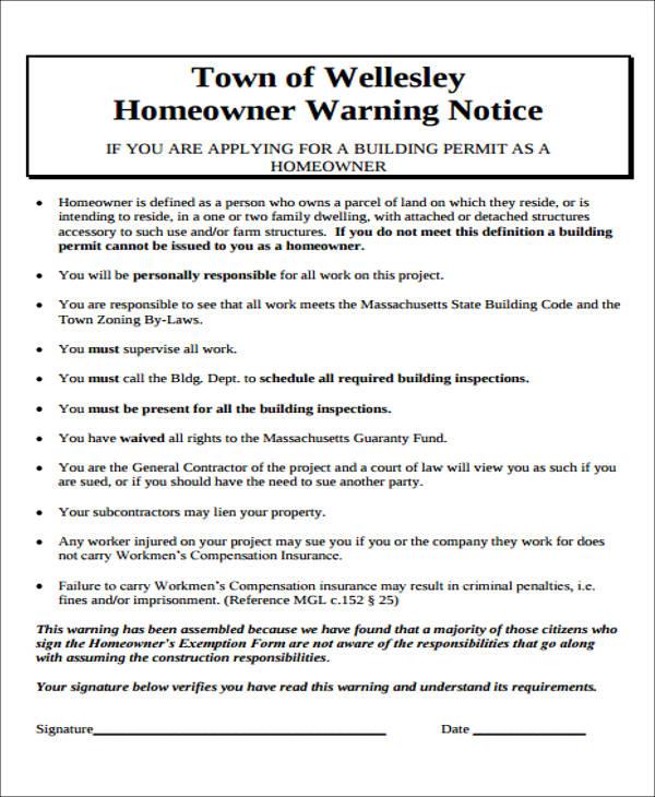 homeowner warning notice form