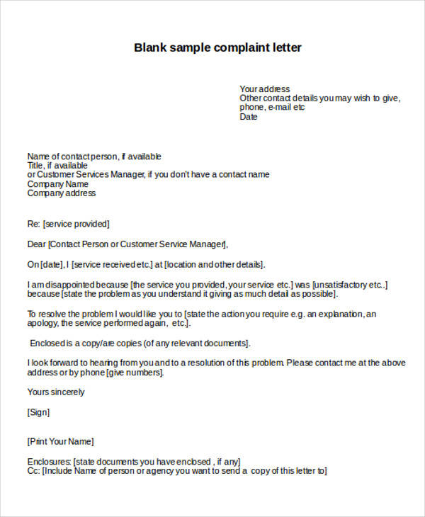 Complaint Letter Example