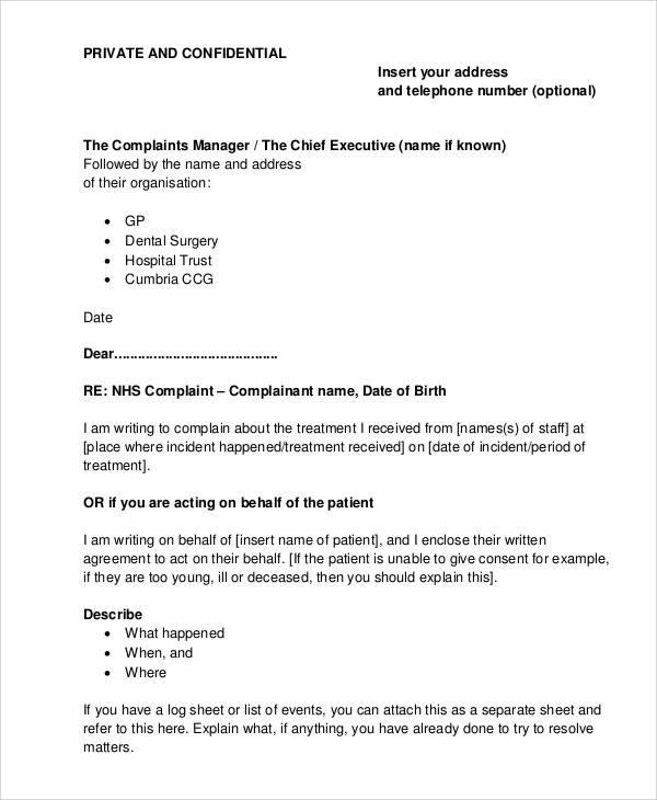 37 complaint letter samples sample templates hospital care complaint letter spiritdancerdesigns Image collections