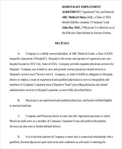 hospitalist employment contract agreement