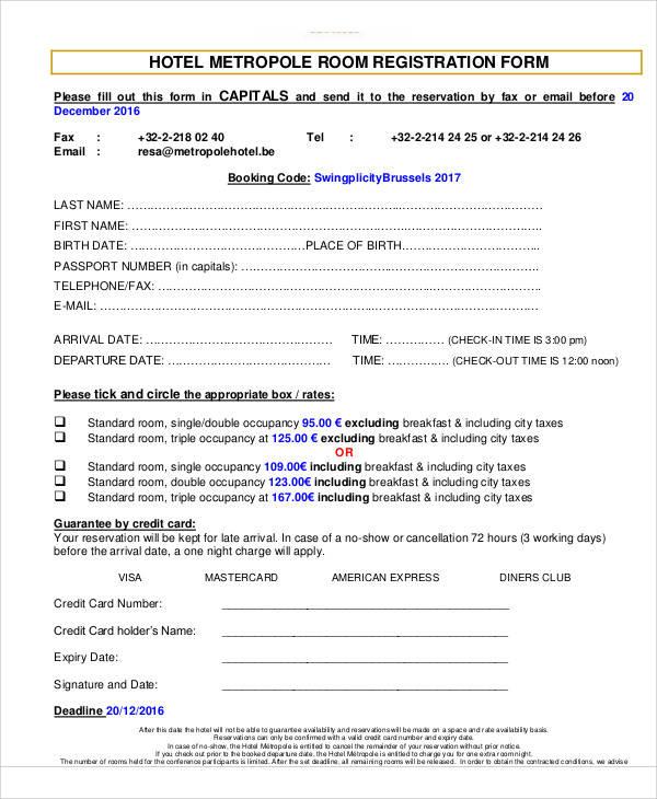 hotel metropole registration form