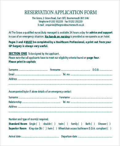 hotel reservation application form1