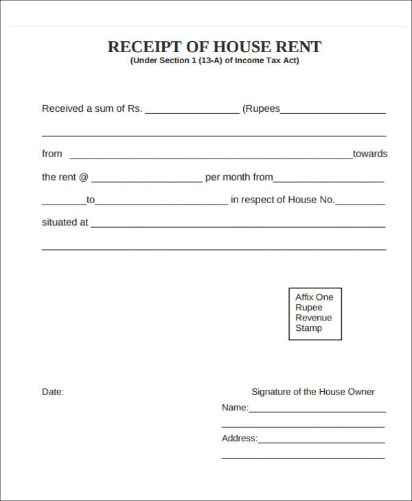 house rent advance payment receipt
