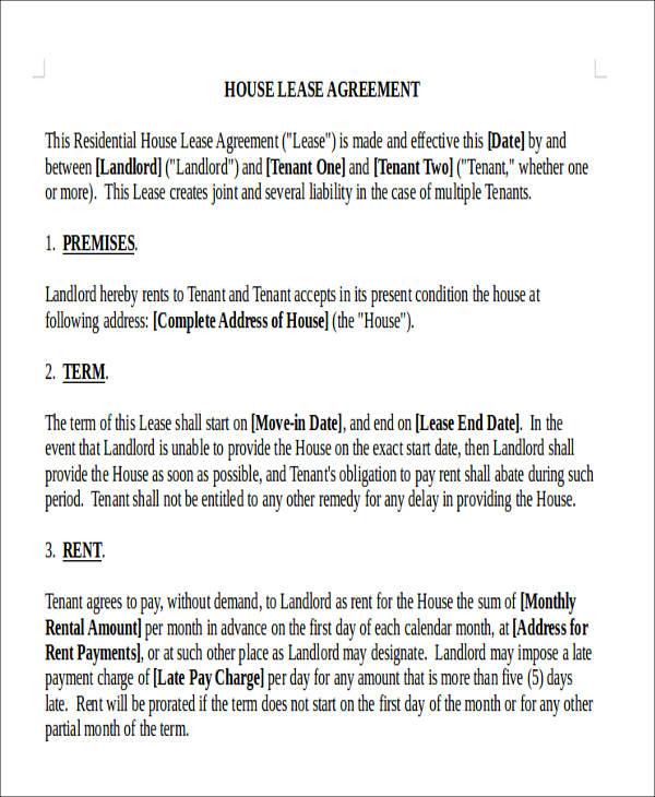 house rental agreement form2