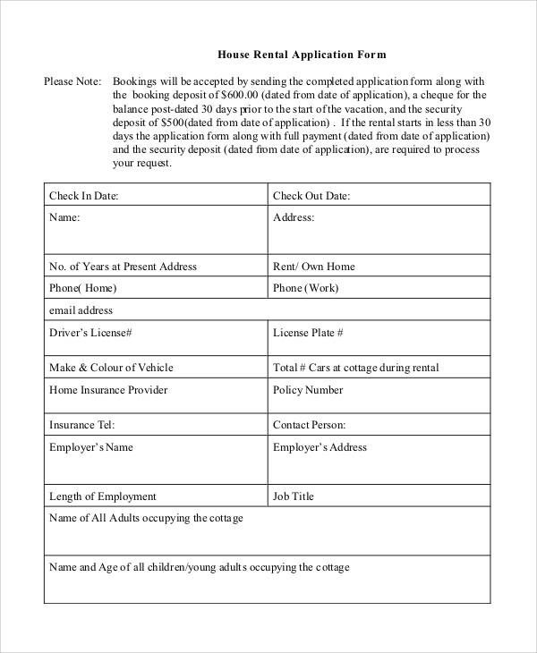 House Rental Apps: Agreement Form Sample