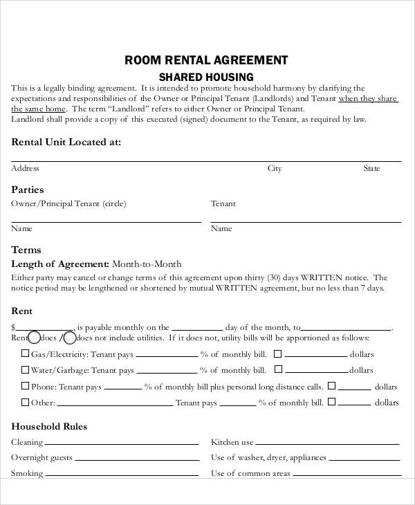 house room rental agreement1