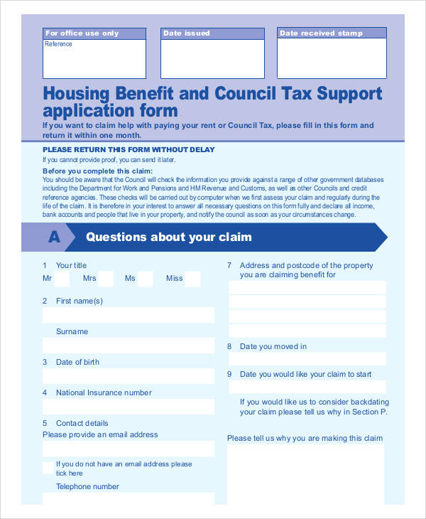 housing benefit and council tax support application form