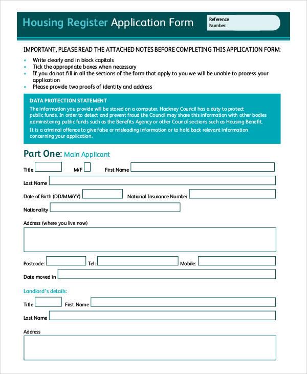 housing register application form