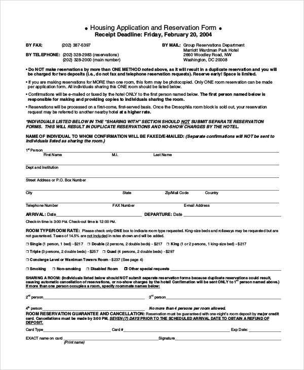 housing application template - 30 reservation forms in pdf sample templates