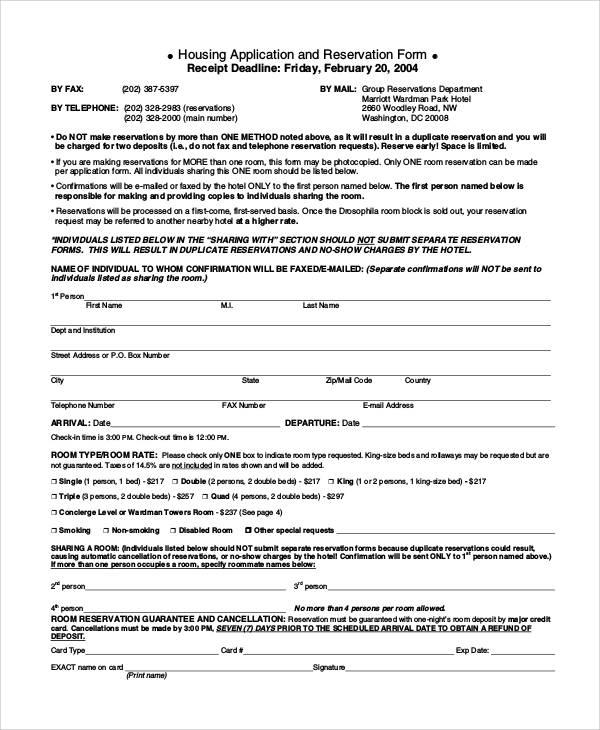 Reservation Form Reservation Application Forms  Reservation