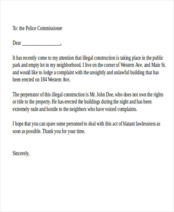 36 complaint letter examples sample templates illegal construction complaint letter spiritdancerdesigns Choice Image