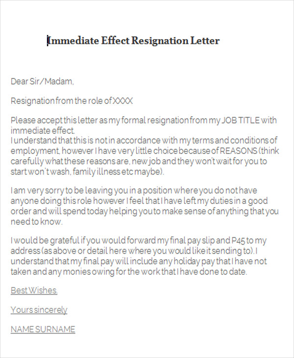 88 Sample Resignation Letters – Job Leaving Letter