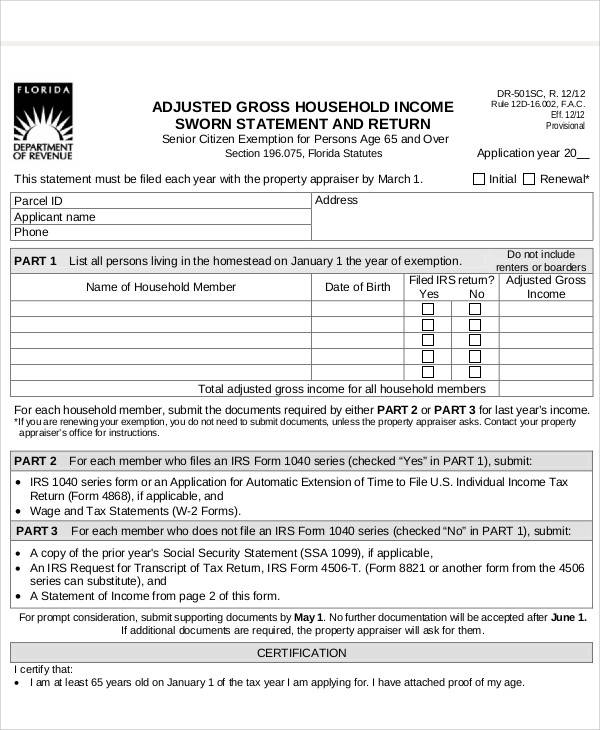 income sworn statement and return form