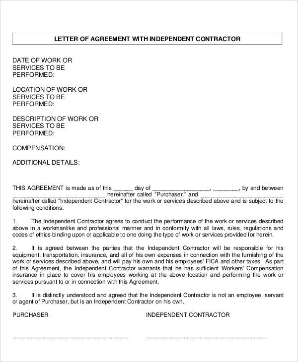 independent contract agreement letter