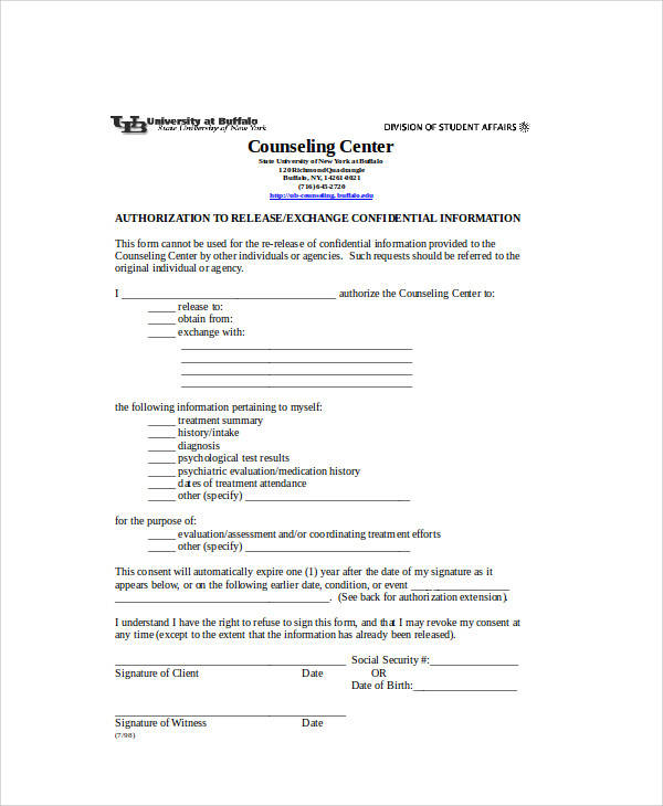 information authorization release form