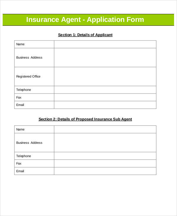 insurance agent application form