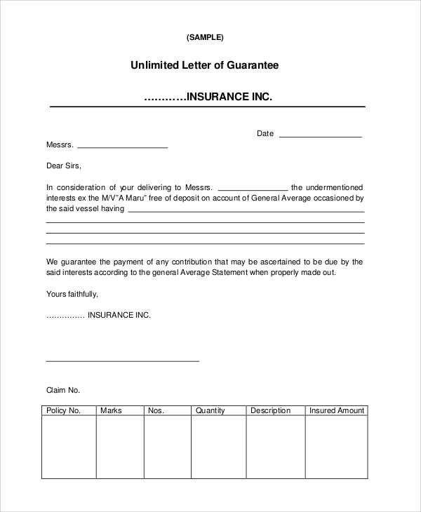 insurance letter of guarantee template  51  Guarantee Letter Samples – PDF | Sample Templates