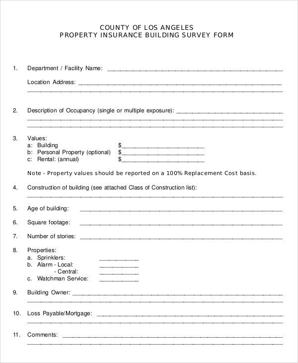 insurance property survey form