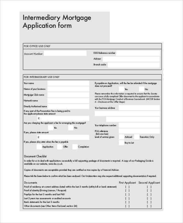 intermediary mortgage application form