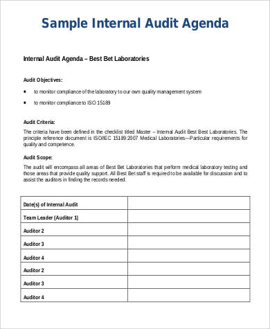 internal audit agenda