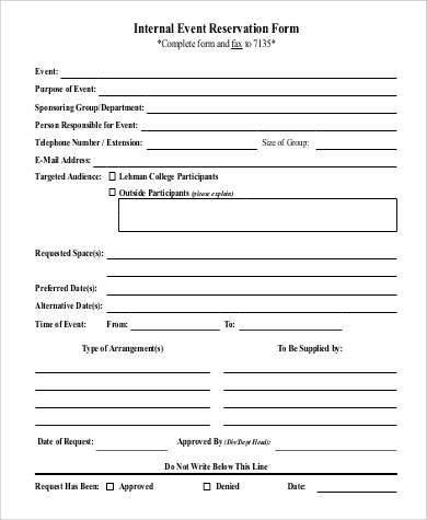 internal event reservation form