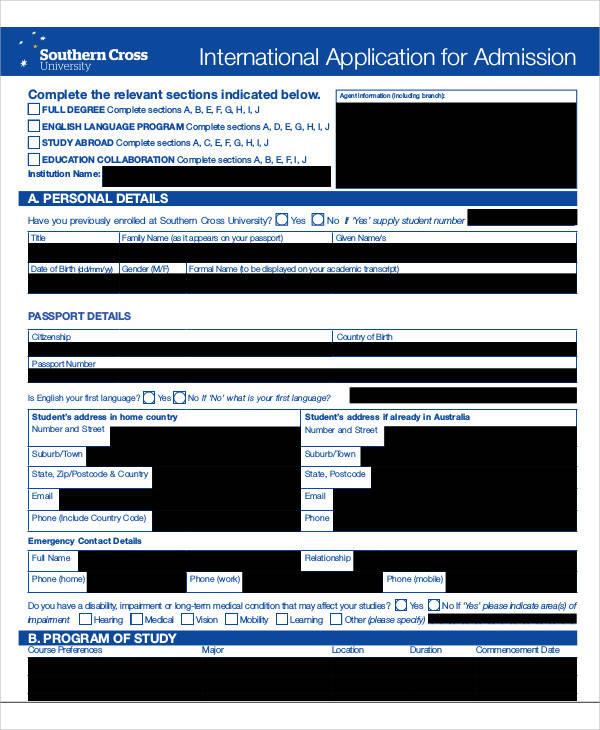 international admission application form