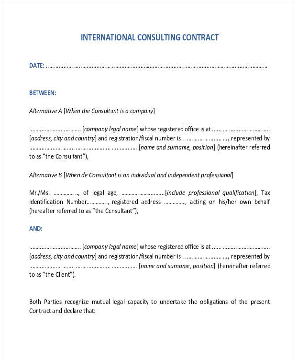 international consulting contract agreement