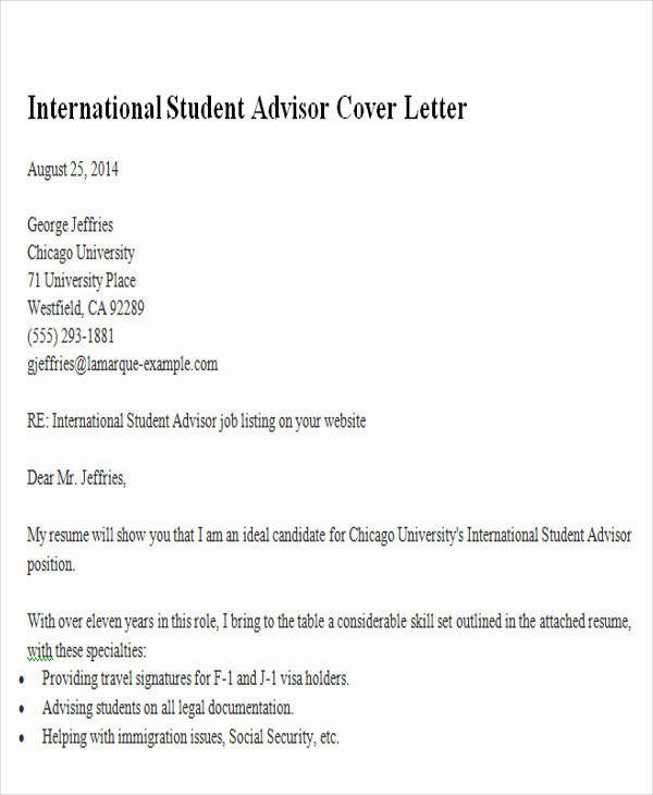 international student advisor cover letter livecareercom