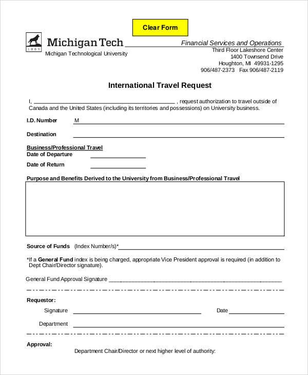 international travel requisition form